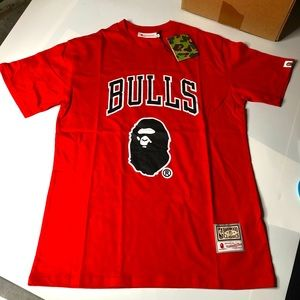 Bape x Mitchell & Ness Bulls Mens T-Shirt Size XL